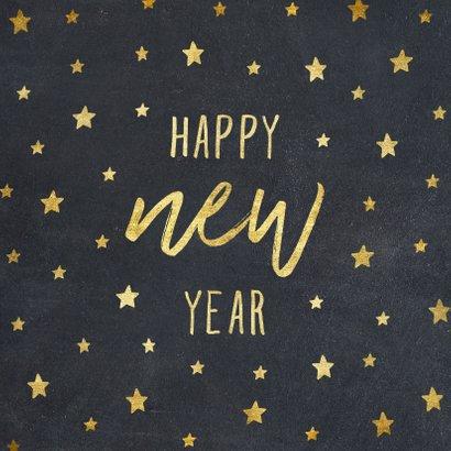 Nieuwjaarskaart typografie met sterren goud 2