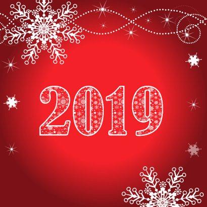 Nieuwjaarskaart typografie rood Happy 2019 2