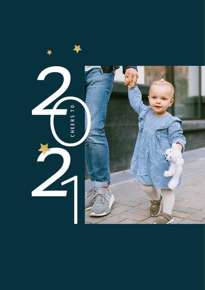 Nieuwjaarskaart typografisch foto goud sterren blauw 2