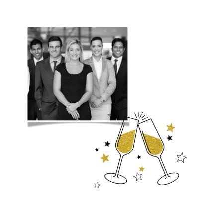 Nieuwjaarskaart uitnodiging borrel champagne en sterren 2