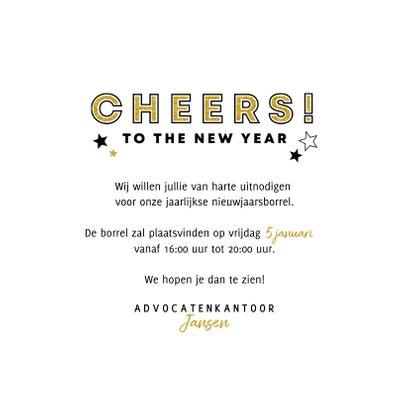 Nieuwjaarskaart uitnodiging borrel champagne en sterren 3