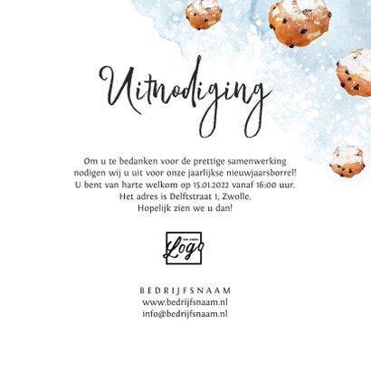 Nieuwjaarskaart uitnodiging borrel waterverf oliebollen 3