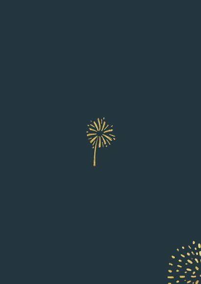 Nieuwjaarskaart vuurwerk goud 2021 foto lichtpuntjes Achterkant