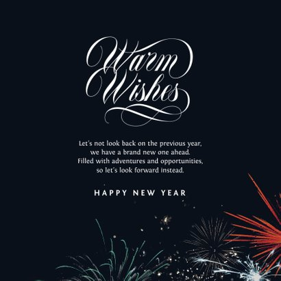 Nieuwjaarskaart vuurwerk stijlvol zakelijk warm wishes 3