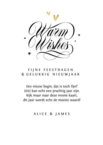Nieuwjaarskaart warm wishes sterren goud hartjes foto 3