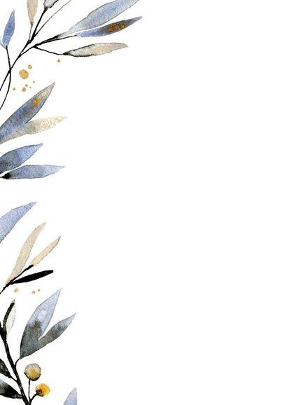 Nieuwjaarskaart waterverf blauw-goud 2