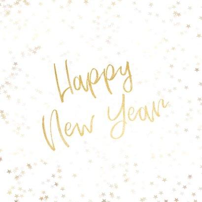 Nieuwjaarskaart wit en goud 2