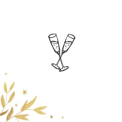 Nieuwjaarskaart zakelijk 2021 champagne proost goud 2