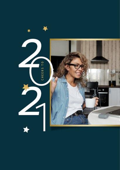 Nieuwjaarskaart zakelijk 2021 sterren fotocollage goud 2
