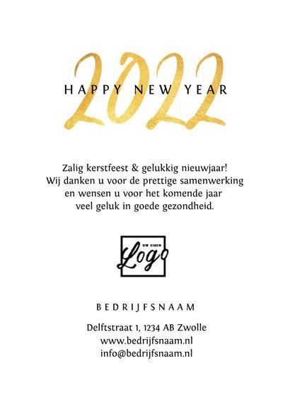Nieuwjaarskaart zakelijk 2022 goud foto sterretjes 3