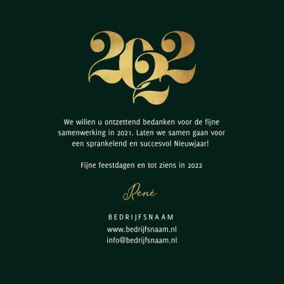 Nieuwjaarskaart zakelijk 2022 grafisch stijlvol goud  3