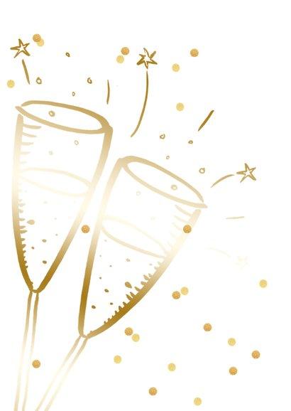 Nieuwjaarskaart zakelijk champagne goudlook confetti 2