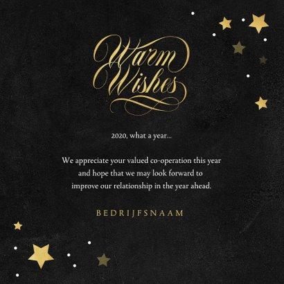 Nieuwjaarskaart zakelijk healthy gezond corona sterren goud 3