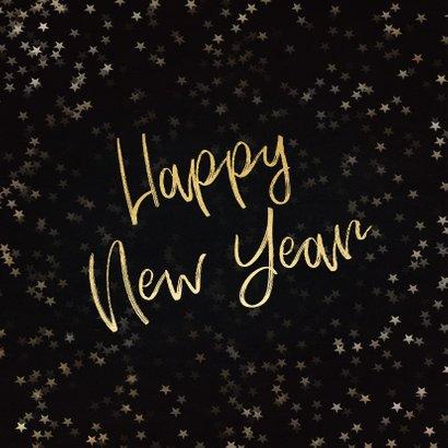 Nieuwjaarskaart zwart en goud 2