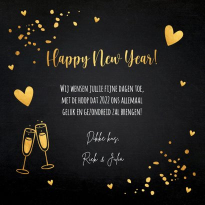 Nieuwjaarskaart zwart goudlook champagne hartjes 3