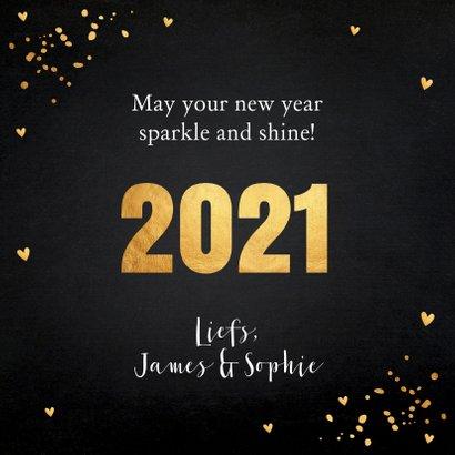 Nieuwjaarskaart zwart goudlook confetti typografie 3
