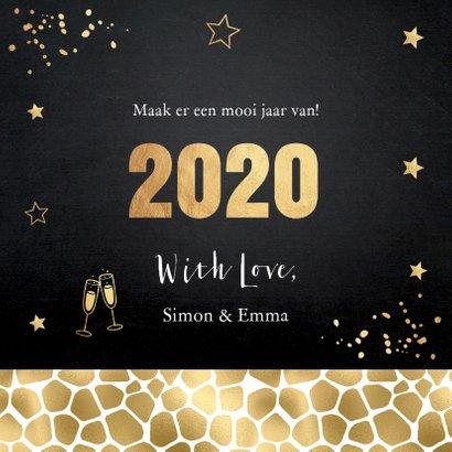 Nieuwjaarskaart zwart goudlook panterprint foto 3