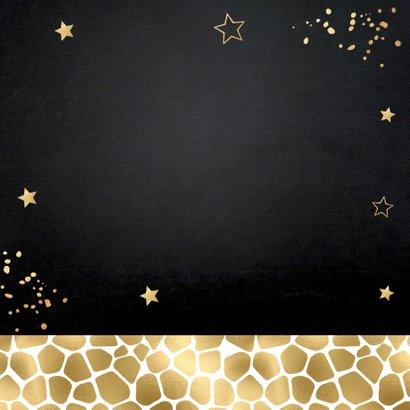 Nieuwjaarskaart zwart goudlook panterprint foto Achterkant