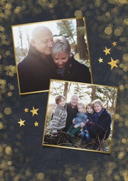 Nieuwjaarskaart zwart met goud en 2 eigen foto's 2