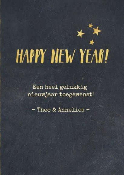 Nieuwjaarskaart zwart met goud en 2 eigen foto's 3
