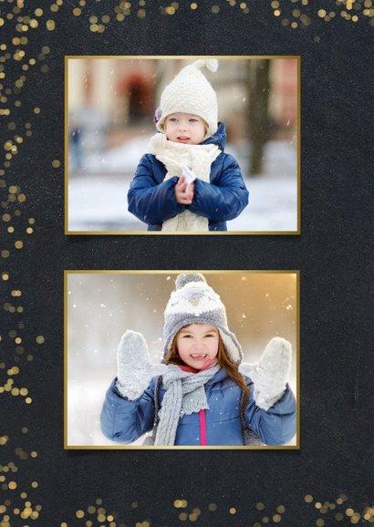 Nieuwjaarskaart zwart met goudlook confetti en sterren 2