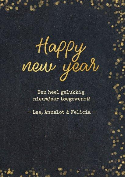 Nieuwjaarskaart zwart met goudlook confetti en sterren 3