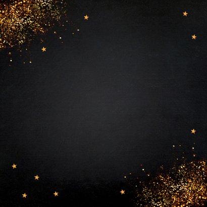 Nieuwjaarskaart zwart typografie goudlook glitter 2