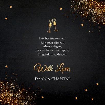 Nieuwjaarskaart zwart typografie goudlook glitter 3