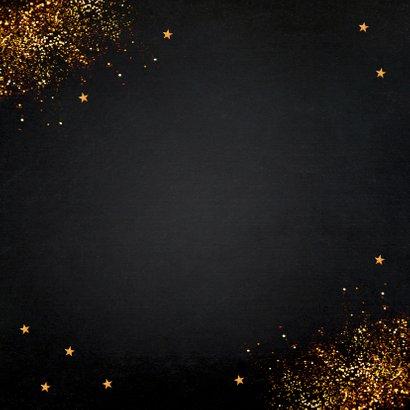 Nieuwjaarskaart zwart typografie goudlook glitter Achterkant