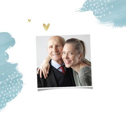 Opa en of oma kaart stijlvol hartjes foto goud waterverf 2