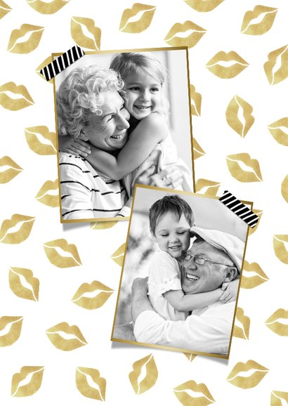 Opa en omakaart liefs dikke kus kusjes goud foto's 2