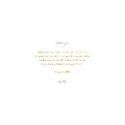 Opa kaartje met waterverf hart en gouden tekst 3