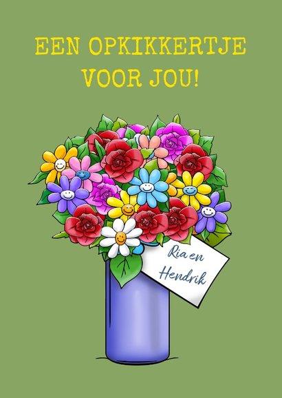 Opkikkertje van harte beter schat met binnen vaas bloemen 3