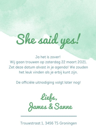 Origineel Save the Date kaart waterverf mint 3