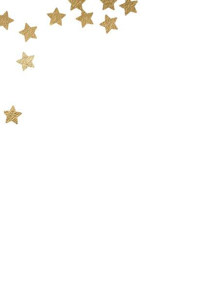 Originele kerstkaart Merry X-mas sterren goud 2