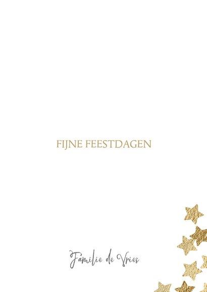 Originele kerstkaart Merry X-mas sterren goud 3