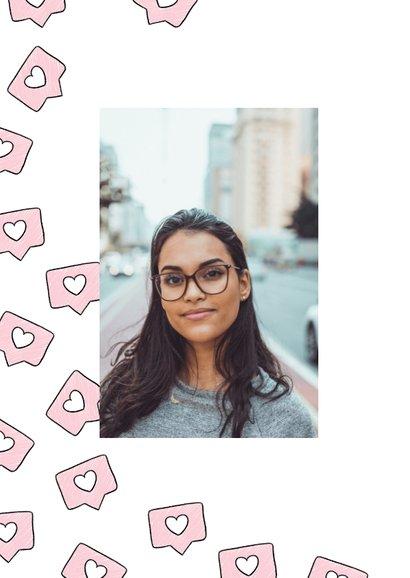 Originele valentijnskaart met instagram likes in roze 2