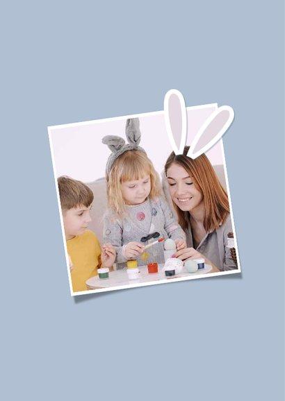 Ostergrußkarte mit Fotos und Hasenohren 2