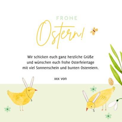 Osterkarte Foto und Küken mit Hasenohren 3