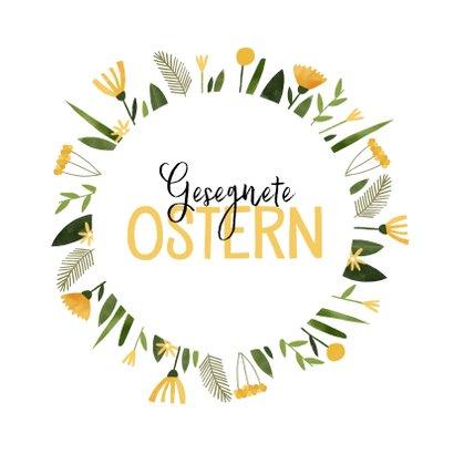 Osterkarte 'Gesegnete Ostern' Blumenkranz 2