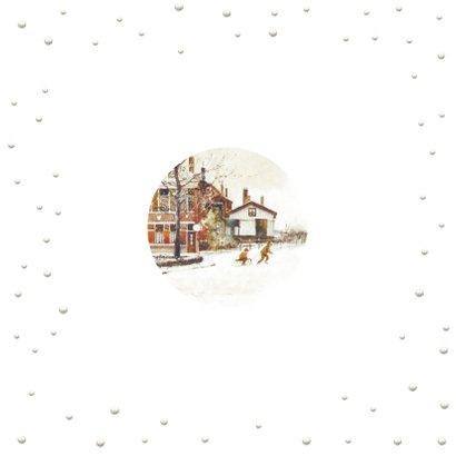 Ouderwets sleeën op eerste kerstdag Achterkant