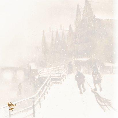 Oudhollandse kerstkaart met wintertafereel 2