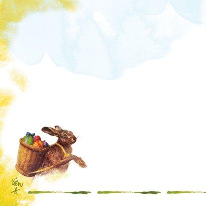 Paashaas met eieren in mand op zijn rug is de koerier 2