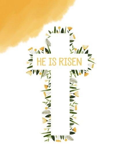 Paaskaart christelijk bloemen in kruis en gele waterverf 2