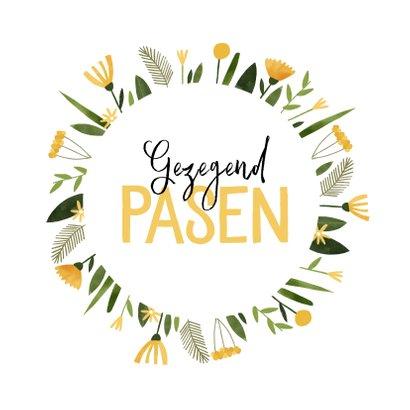 Paaskaart gezegend pasen gele bloemenkrans 2