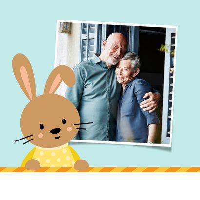Paaskaart kleurplaat voor kinderen met konijntjes 2