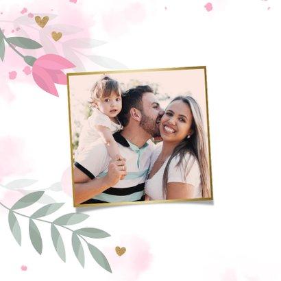 Paaskaart met bloemen, takjes, hartjes en waterverf 2