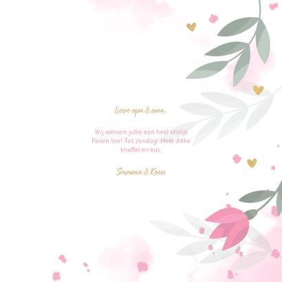 Paaskaart met bloemen, takjes, hartjes en waterverf 3
