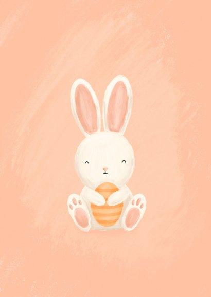 Paaskaart met foto, konijntje en paaseieren vrolijk pasen 2