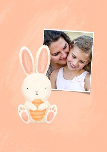 Paaskaart met konijntje en paaseieren vrolijk pasen  2